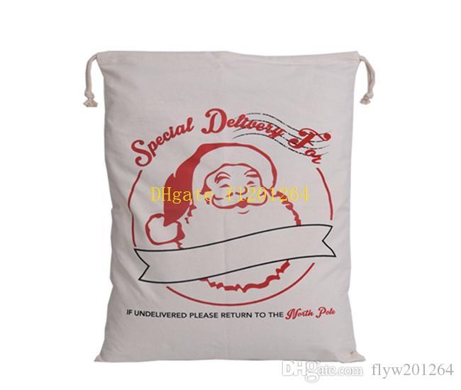 100pcs / lot Livraison Gratuite 12 styles Père Noël en toile sac en toile de Noël cadeau sac en sac cadeau 50x70cm Taille