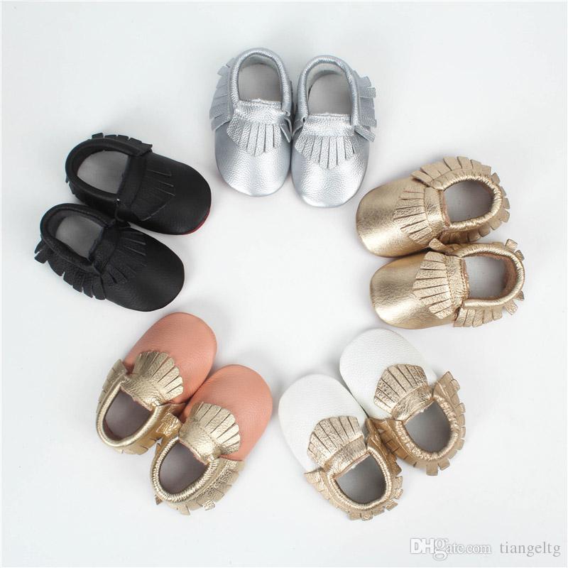 Baby Tassel Moccasins Shoes Prewalker Fringes Newborn Infant Girls Boys Gold Silver Black First Walking Flat Indoor Slip-on Shoe 0-30M