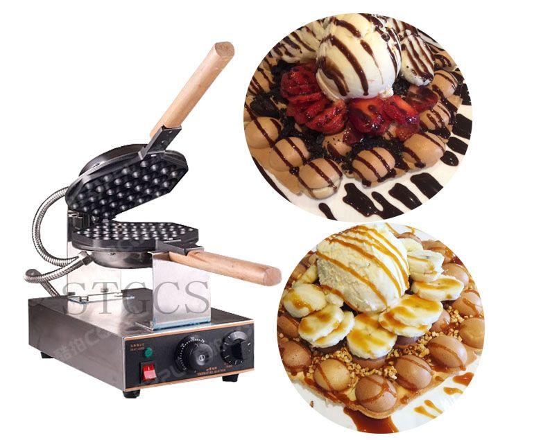 Ücretsiz Kargo Elektrikli 110 V 220 V Kabarcık Yumurta Waffle makinesi Hong Kong Waffle Makinesi Yumurta Puf