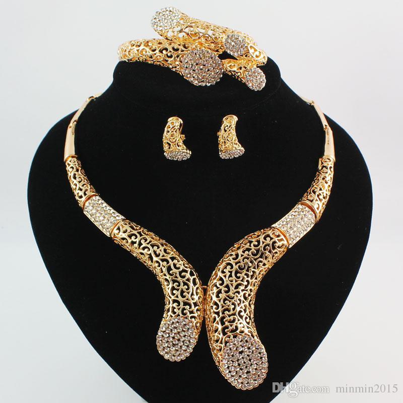 두바이 18K 골드 \ 실버 도금 크리스탈 여성 결혼식 파티 문 목걸이 팔찌 귀걸이 반지 고품질 쥬얼리 세트