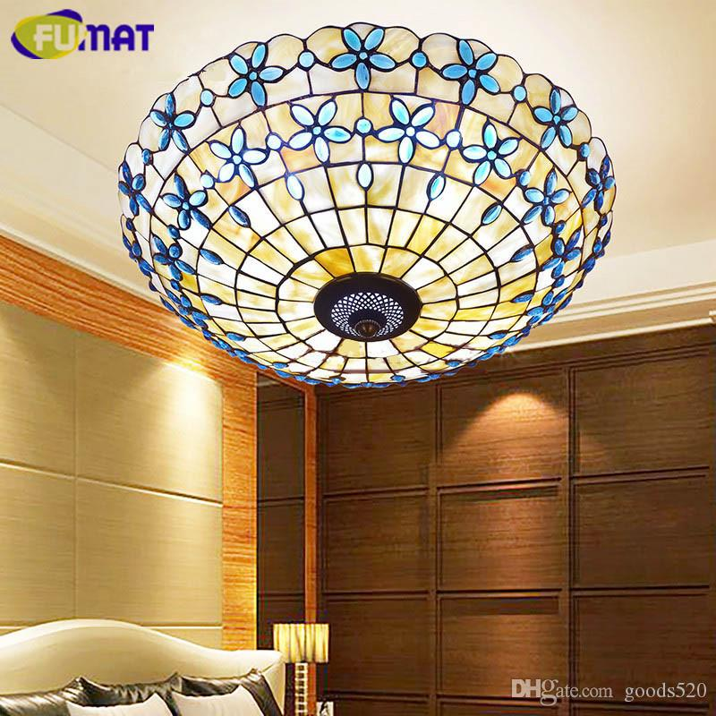 FUMAT 16/21/24 Inch Blue Lilac Shell Ceiling Lamp Bedroom Living Room Light European Style Study Balcony Ceiling Light