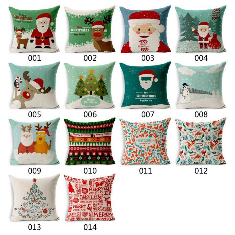 180g Natal Tema Fronha Pai Natal Boneco de Neve Travesseiro Cobre Feliz Natal Presente Capa de Almofada Melhor Presente Para As Crianças
