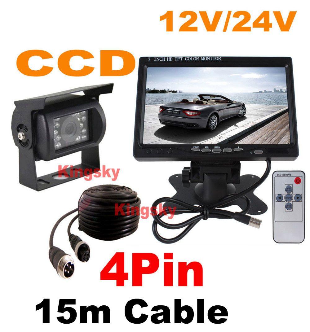 """12V ~ 24V vision nocturne CCD 18IR LED de sauvegarde caméra de recul 4Pin + 7"""" Moniteur LCD voiture Vue arrière Kit gratuit 15m câble pour bus camion Motorhome"""