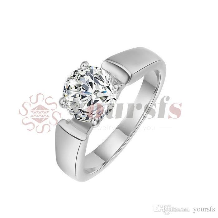 Vendita calda! Anello di elegante 18 k Rose d'oro placcato uso Swarovski Crystal simulazione di diamante ct 1 Estate sposa amanti regalo R059R1