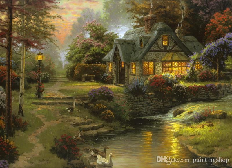Thomas Kinkade pintura al óleo del paisaje reproducción de alta calidad Lámina Impresión en lienzo Modern Home Decor Arte TK064