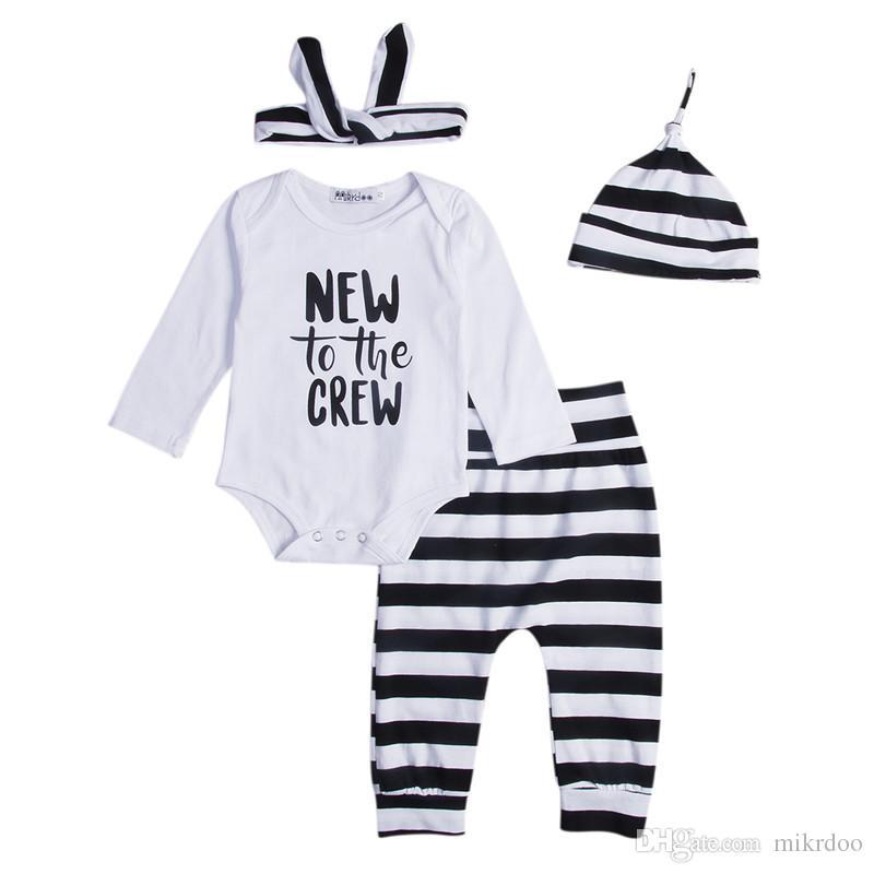 Mikrdoo outono recém-nascido bebê roupas novas para a tripulação manga comprida bodysuit tops listrado calças legging chapéu headband 4 pcs roupa roupas