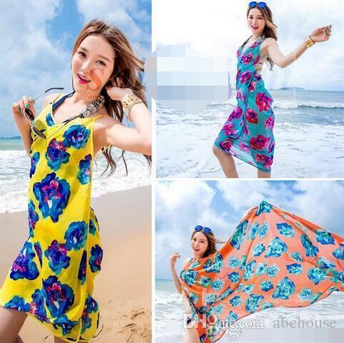 Moda Chiffon Beach Smock Toalla Fashion Wrap Pareo Flores Bikini Cubre Ups Sarong Beach Vestido Protector solar Mantón Ropa de playa Ropa de baño Bufanda