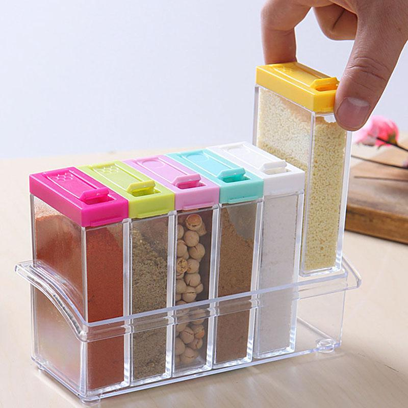 Wholesale- Newest Simple Colorful Lid Seasoning Box 6pcs/set Kitchen Tools Salt Condiment Cruet Storage Box #224717