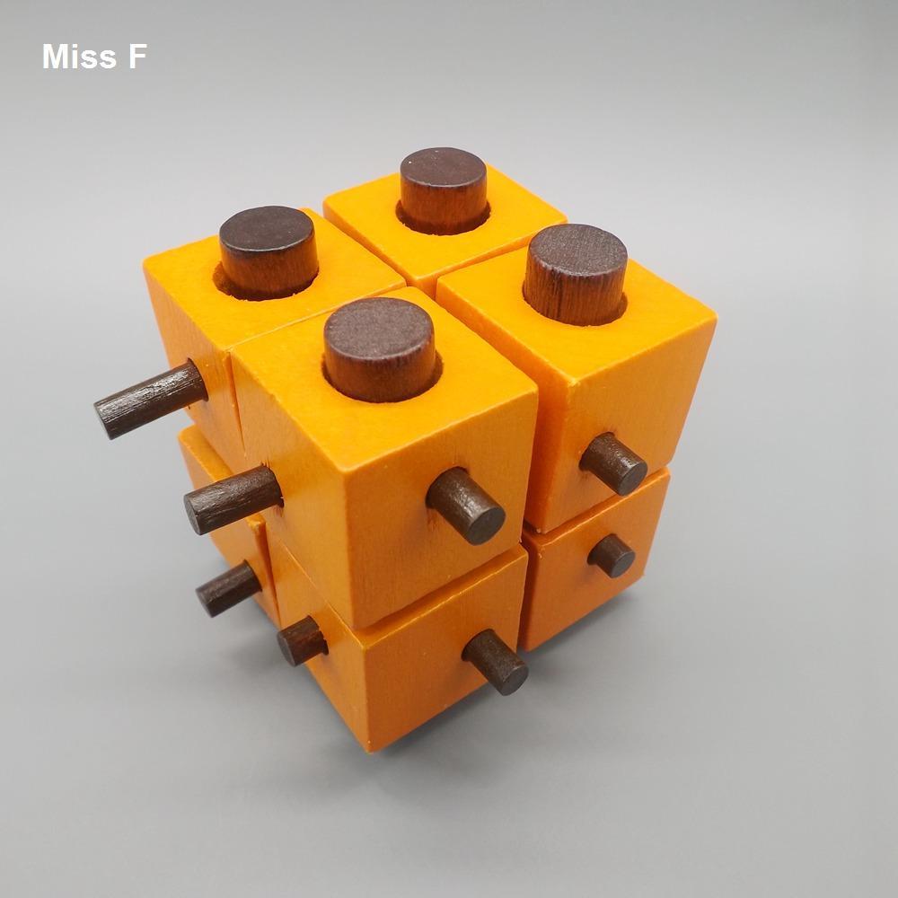 Luban Lock Magic Box Oito Enigma Quadrado Toy Unlatching Bloqueio De Madeira
