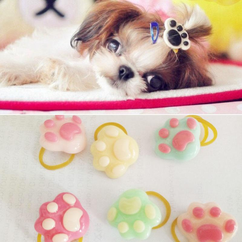 New Cute Pet Accessories Rubber Band Hair Bows Pet Gifts Yorkshire headdress flower little PAWS band 30pcs