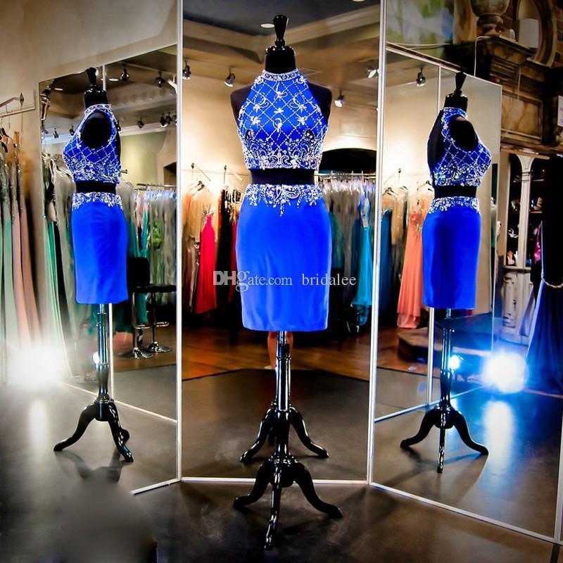 Royal Blue Short Abiti da cocktail Halter Neckline Paillettes di perline 2 pezzi Prom Dresses Abiti da festa Aperto Indietro 2016