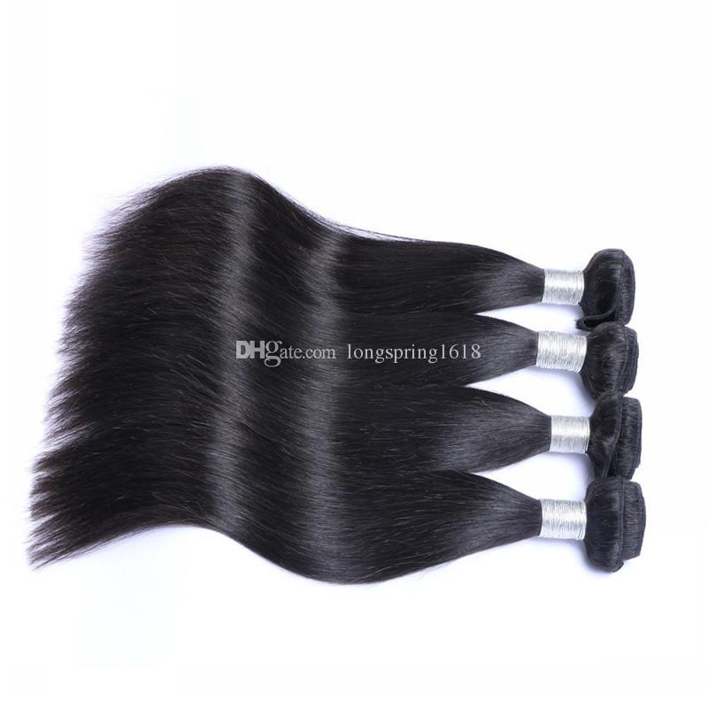مبيعات التخليص! رخيصة حزم الشعر الهندي 4 قطع الكثير 100 ٪ غير المجهزة مستقيم الشعر الطبيعي الأسود العذراء لحمة الشعر البشري