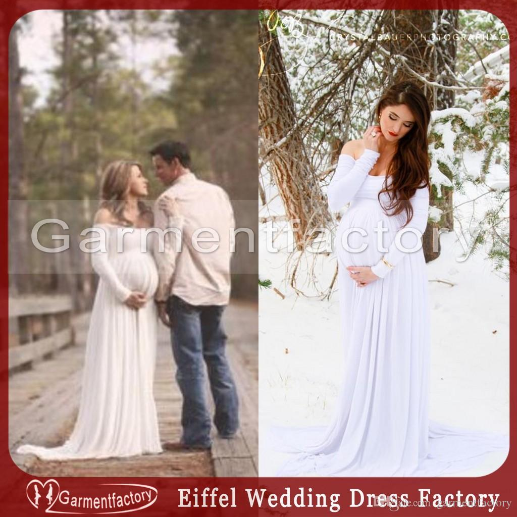 2016 empire waist maternity wedding dresses off the shoulder long ...