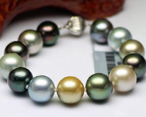 Elegante 9-10mm genuíno tahitian mares do sul pulseira de pérolas multicolor 7.5-8 polegadas 925 prata