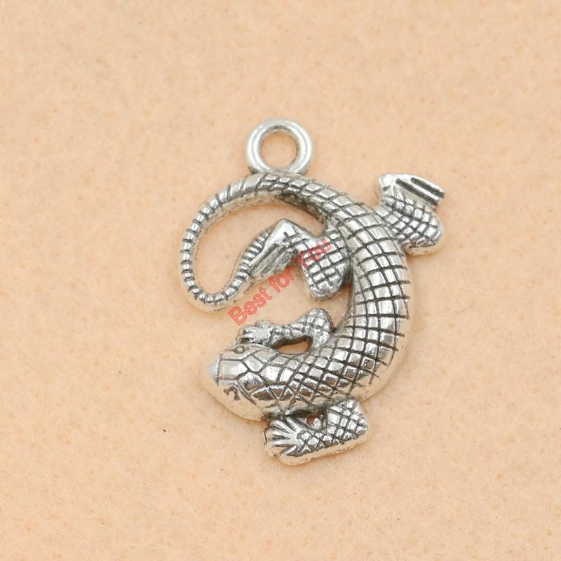 50 stücke Antike Silberton Salamander Charms Anhänger für Schmuck Machen Diy Schmuckzubehör 31x24mm schmuck machen