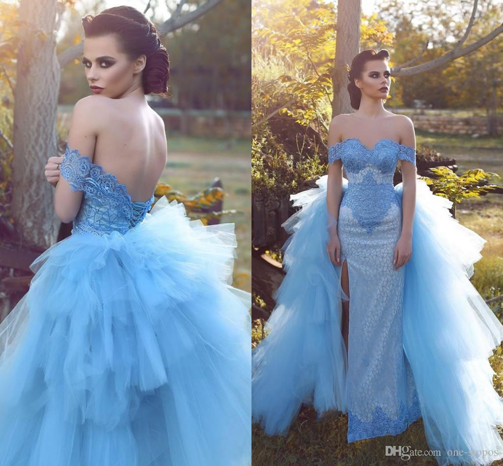 Colorful Arabic Wedding Dress With Detachable Tail Lace Off Shoulder ...
