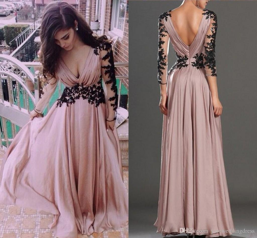 Charming Formal Party Gowns New Arrival Plunging Neckline Long Illusion Sleeves Prom Dresses With Lace Applique Back Zipper Evening Dresses