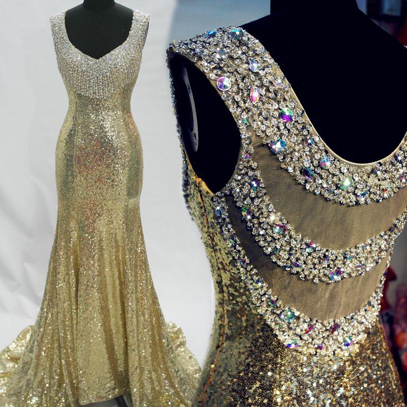 Tampado V Pescoço Lantejoula Sereia Vestido de Baile de Formatura 2016 New Frisada de Cristal Vestidos de Noite Custom Made