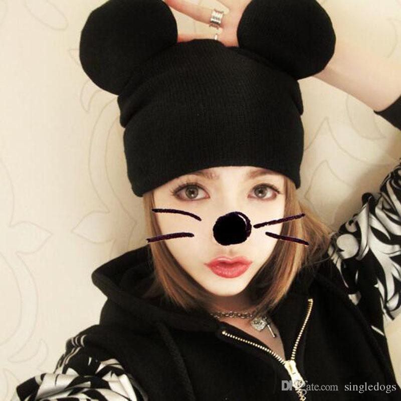 Knitting Skull Caps Cute Mickey Ear Hats Autumn Winter Warm Caps Fashion Hip-Hop Beanie Free Shipping
