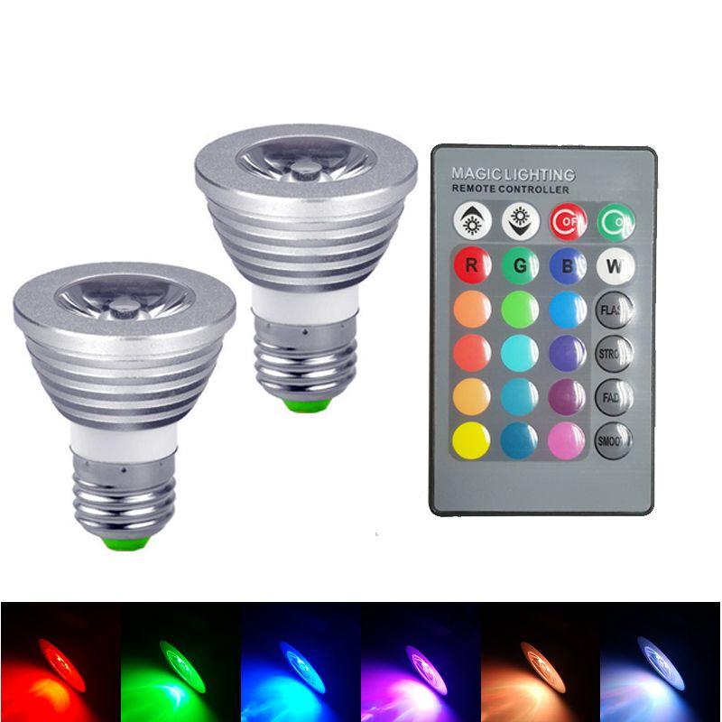 in magazzino a buon mercato lampada RGB 3W 5W E27 GU10 Led Light E14 GU5.3 MR16 12V 85-265V ha condotto la lampadina del riflettore 16 colori Change + IR telecomando DHL fre