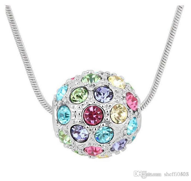 Colorful Balls Pendant Necklaces For Women Fashion Austria Crystal Jewelry For Lover 18kgp cheap necklace jewelry 10pcs sales B65