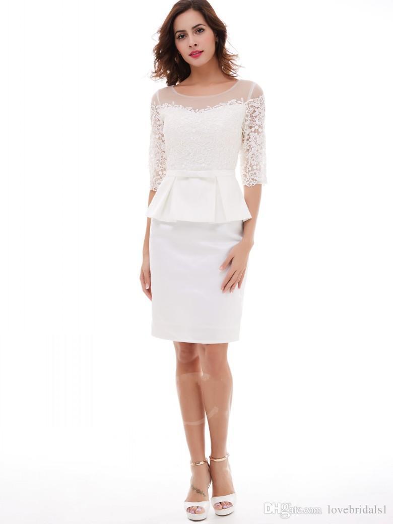 robe de bal courte retour appliques dentelle ceinture peplum backzipper gaine genou scoop élégant robe de soirée cocktail robe de mariée invité