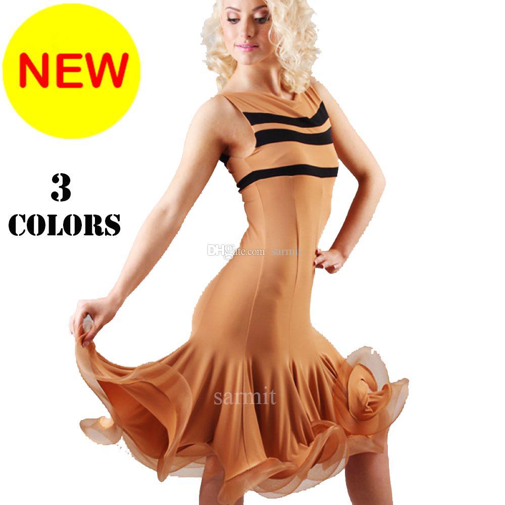 Venda Latin Dança Vestido Mulheres Meninas Crianças Salsa Dança Competição Vestidos Samba Trajes D0545 Tamanho Personalizado 3 Cores Hem Fluffy