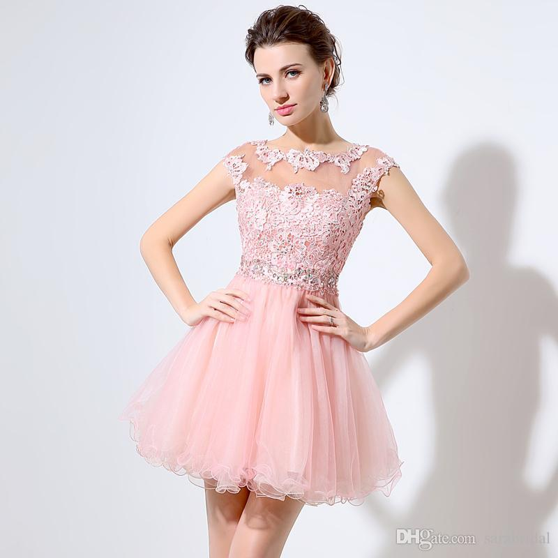 2016 Pink Hollow Back Short 8th Grade Prom Dresses Sheer Collar Lace ...