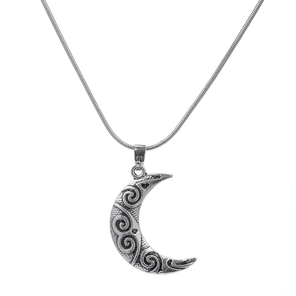 Antique Silver Plated Crescent Moon Pendant Snake Chain Necklace Nature Jewelry