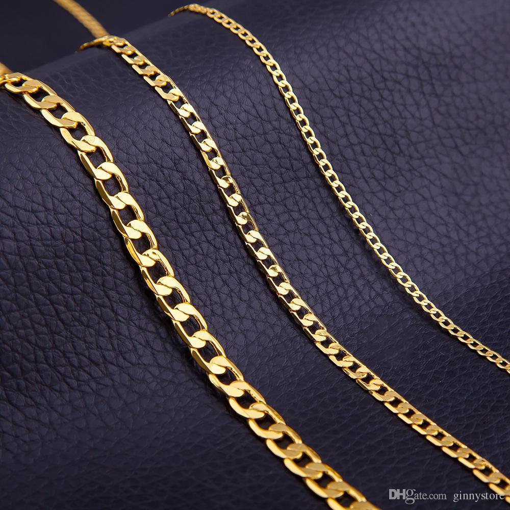 revisa 635ba 9d595 Compre Collar De Cadena De Eslabones De Oro Para Hombres 4MM Collar De  Cadena De 6MM 8MM Collar De Cadena De Oro 18k Accesorios Clásicos De Moda  Para ...