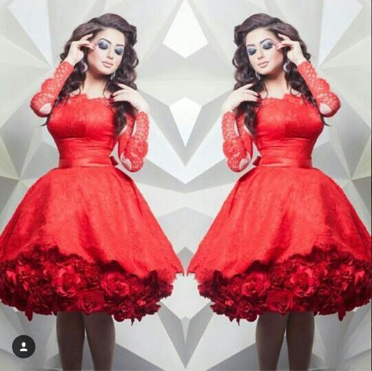 붉은 레이스 짧은 칵테일 드레스 긴 소매 끄기 어깨 손으로 만든 꽃 무릎 길이 파티 드레스 사용자 정의 만든 아랍어 가운 새로운 2019