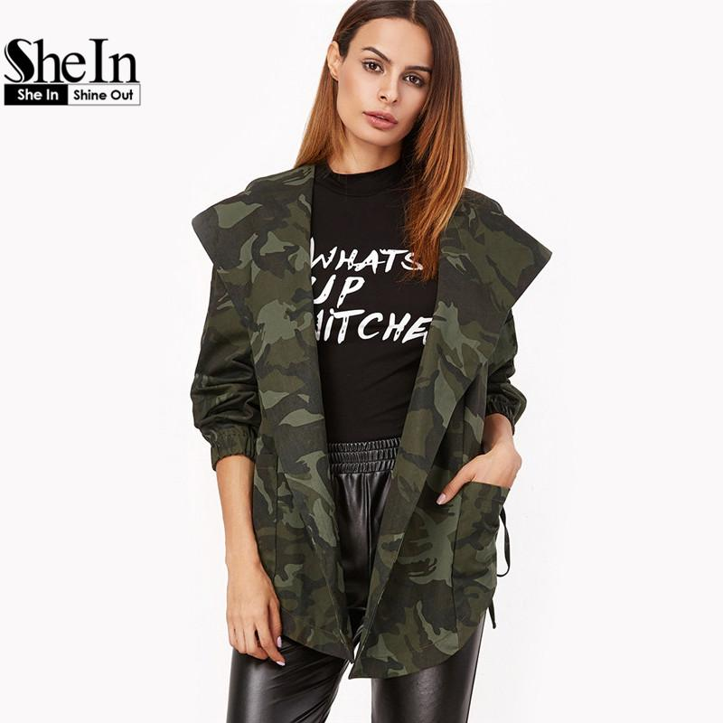 779e24a4ed829 Wholesale SheIn Spring Jacket Women Casual Outerwear Womens Olive Green  Camo Print Hooded Shawl Collar Wrap Belted Jacket Warm Jackets Long Jackets  From ...