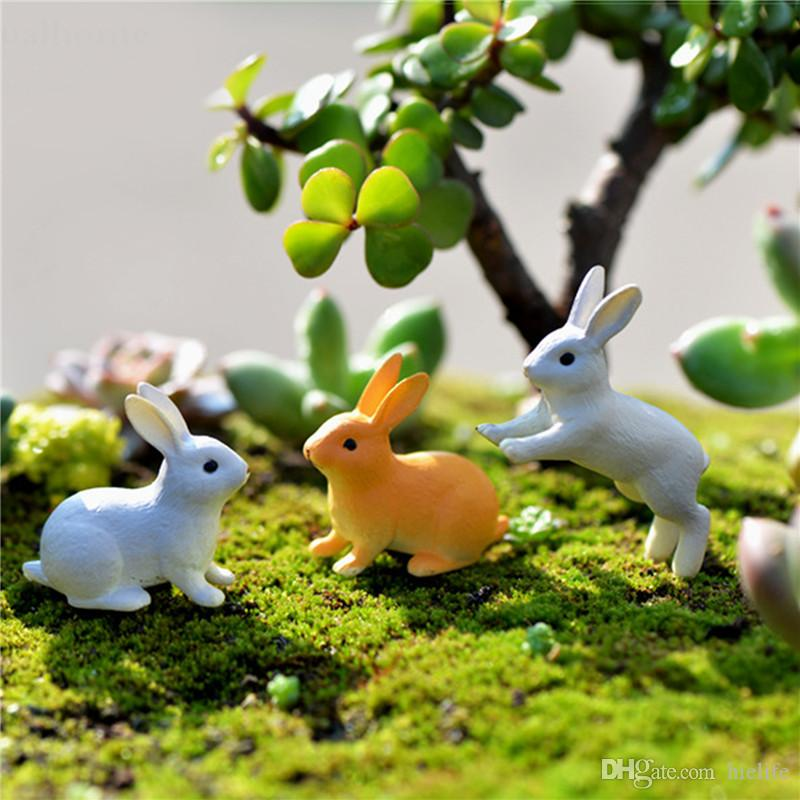 New 100pcs/set Rabbit Ornament Miniature Figurine Fairy Garden Decor Home Decoration Micro Landscape Terrarium Gift Sitting Running Rabbit
