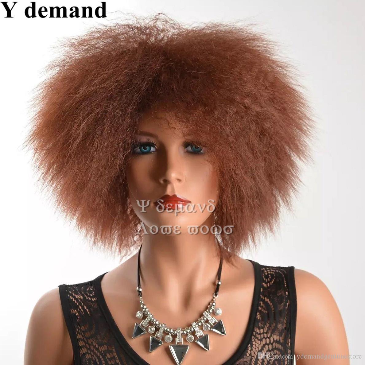 Original Date Afro Cheveux Bruns Afro Court Crépu Perruque Frisée De Mode Siulation Brésilienne Perruques de Cheveux Humains Perruques Complètes En stock