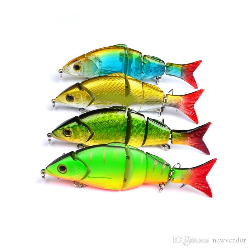 4 Color 12.8cm 22g Multi Jointed Bass Plastic Fishing Lures Swimbait Sink Hooks Tackle high quality fishing lures