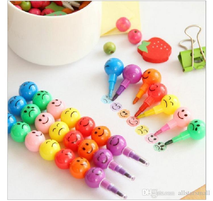 Venta al por mayor envío gratuito de papelería colorida acuarela cepillo Smiley de dibujos animados sonrisa bolígrafo Marcador niños calabaza juguetes regalos 7 colores pluma
