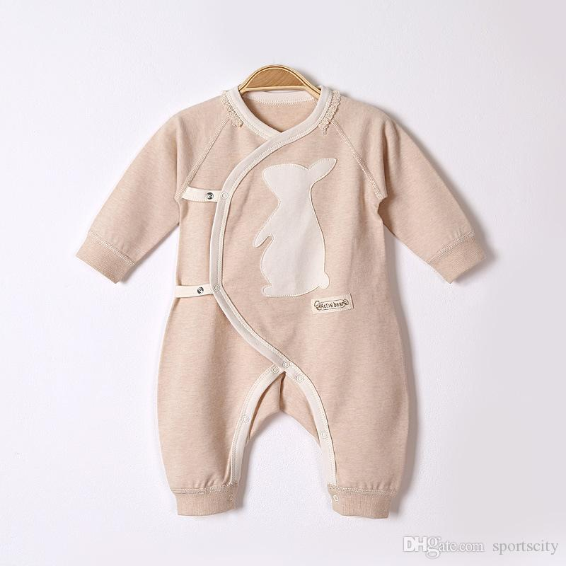 2017 autumn and winter newborn baby clothes baby long-sleeved jeans cartoon pattern oblique lapel tie color cotton baby conjoined clothing
