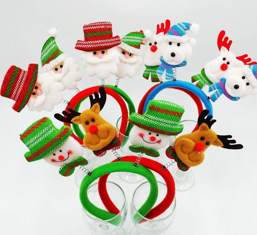 7pcs/lot Cute Christmas Headbands Decoration, Chromatic Santa/Reindeer/ Snowman Hair Hoop for Xmas Home Party Decoracion Navidad