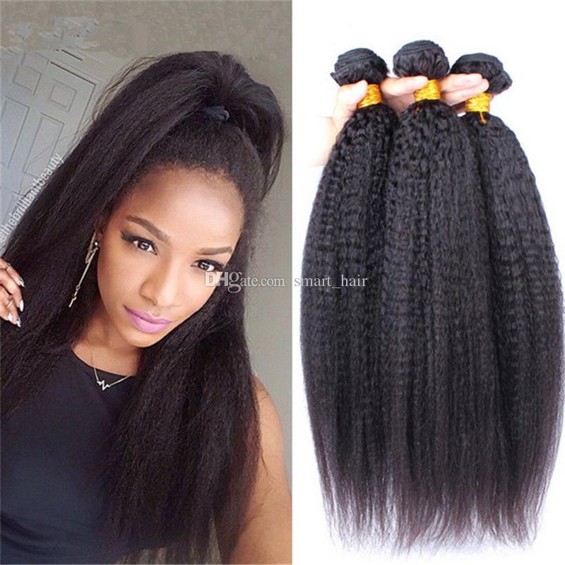 Sınıf 9A 100% Işlenmemiş Brezilyalı Saç Afro Kinky Düz Örgü Uzantıları 3 Adet Lot İtalyan Kaba Yaki İnsan Saç Atkı 3 Demetleri