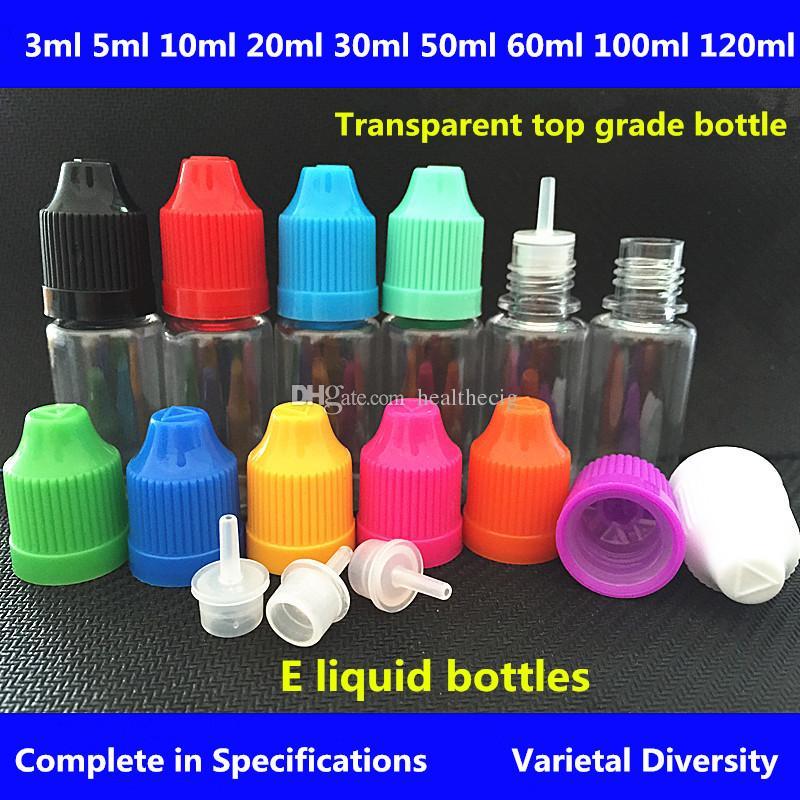 전자 담배 액체 병 3ml5ml10ml15ml20ml30ml50ml100ml120ml Childproof 캡 전자와 플라스틱 Dropper 병 액체 E-cig Dropper 병