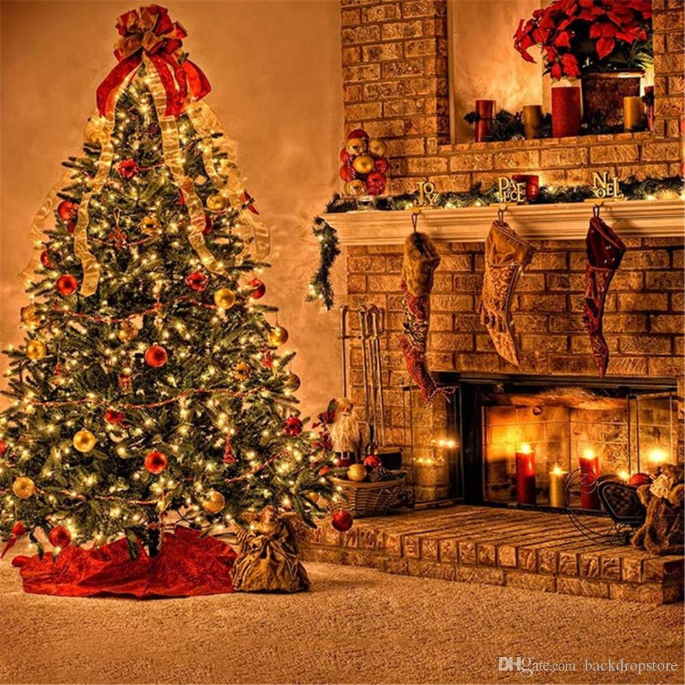 Christmas Fire Place Images.2019 Indoor Brick Fireplace Photo Background Candles Stocking Sparkling Christmas Tree With Balls Family Holiday Party Photography Background From