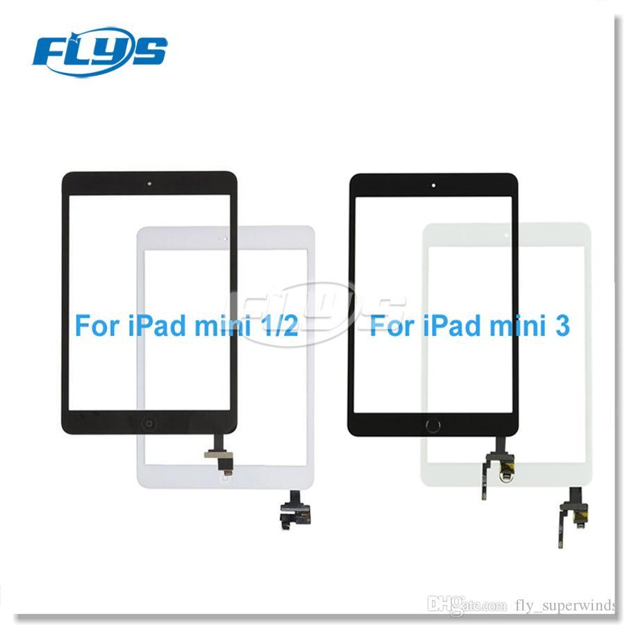 iPad mini 1 mini 2 미니 3 터치 디지타이저 화면 (홈 버튼 플렉스 케이블 및 접착제 포함) 무료 배송 DHL