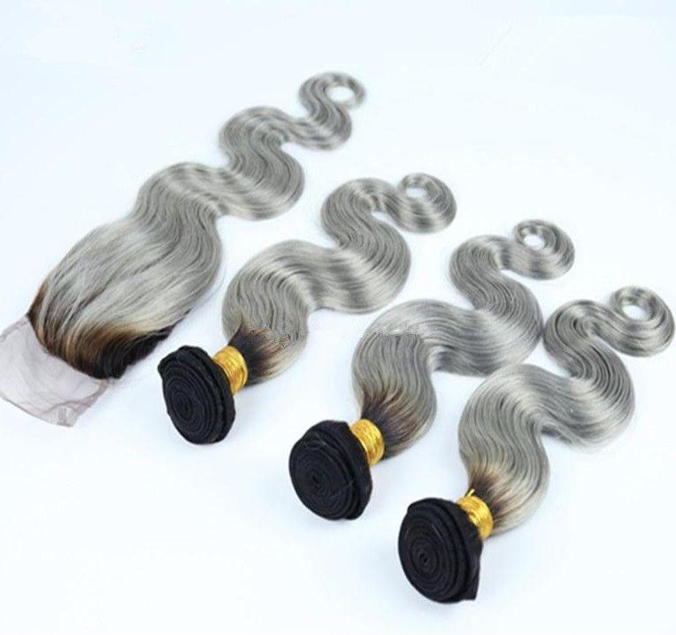 Fermeture en dentelle gris argent 4x4 avec des armures # 1B / cheveux gris malais Ombre avec fermeture Body Wave deux tons 3Bundles avec fermeture 4Pcs Lot