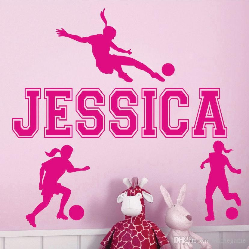 Custom personalized name girl soccer sports wall stickers living room bedroom home decor wallpaper mural 56*33 cm