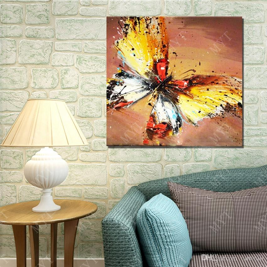Free shipping Hand drawing beautiful butterfly picture for living room wall decoration abstract wall picture no frame wood