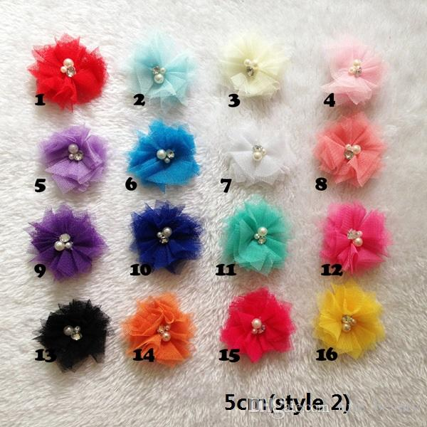 15% de desconto! Bebê Meninas Cetim Tule Malha Flores para a Cabeça acessórios para o cabelo roupas sapatos e chapéus acessórios broches acessórios 150 pcs /