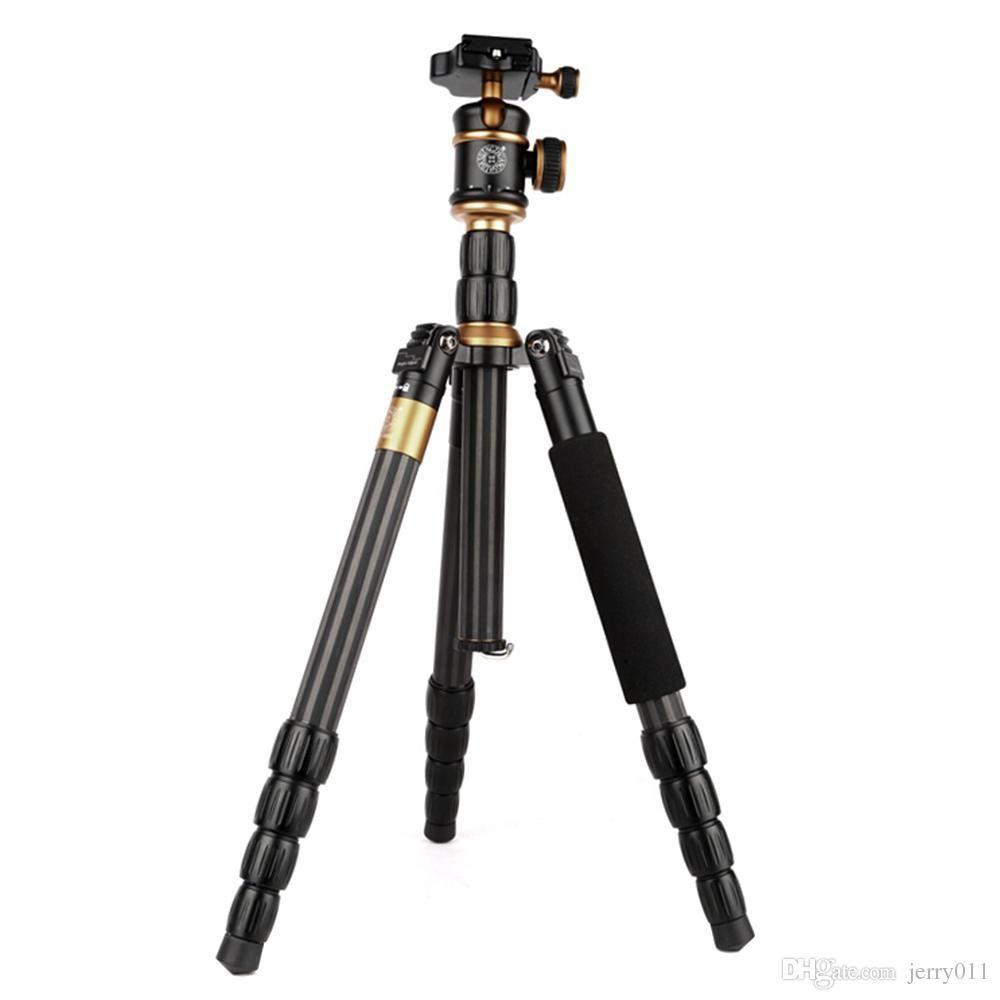 QZSD Q888C Pro Treppiede in fibra di carbonio portatile staccabile trasferibile monopiede con testa a sfera per fotocamera reflex