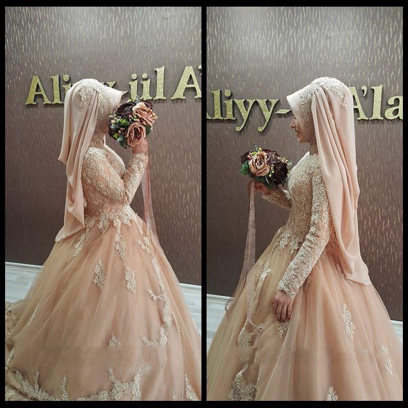 Benutzerdefinierte 2020 Arabische muslimische Champagner-Spitze Langarm Brautkleider mit Hijab Islamic Braut Brautkleider Robe de Mariage
