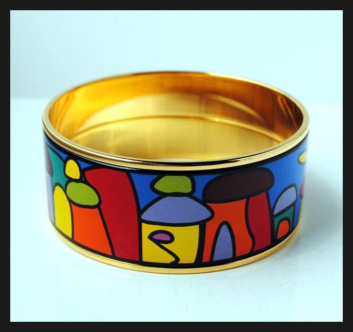 Hundertwasser Village Series 18 carats plaqué or bracelet bracelet en émail pour femme Top qualité bracelets bracelets largeur 30mm Bijoux fantaisie