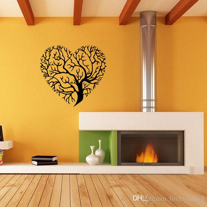 New Arrival Heart Tree Wall Stickers Black Brown Wall Decals ...